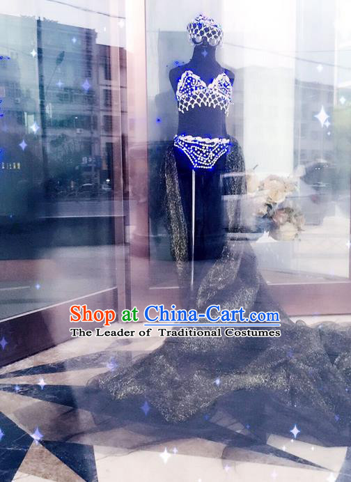 Top Grade Professional Performance Catwalks Bikini Clothing, Traditional Brazilian Rio Carnival Samba Modern Fancywork Black Swimsuit Costume for Kids