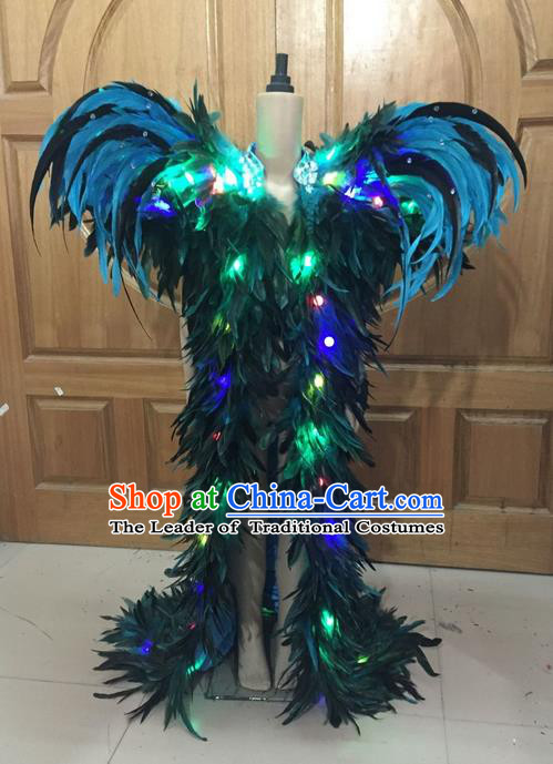 Top Grade Professional Performance Catwalks Led Light Clothing, Traditional Brazilian Rio Carnival Samba Modern Fancywork Blue Feather Costume for Kids