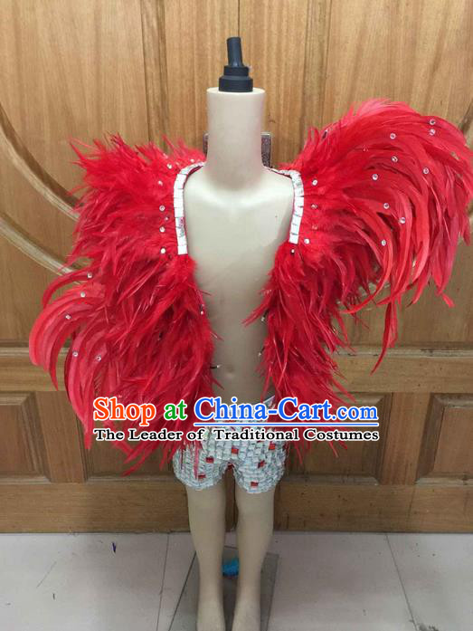 Top Grade Professional Performance Catwalks Led Light Clothing, Traditional Brazilian Rio Carnival Samba Modern Fancywork Red Feather Costume for Kids