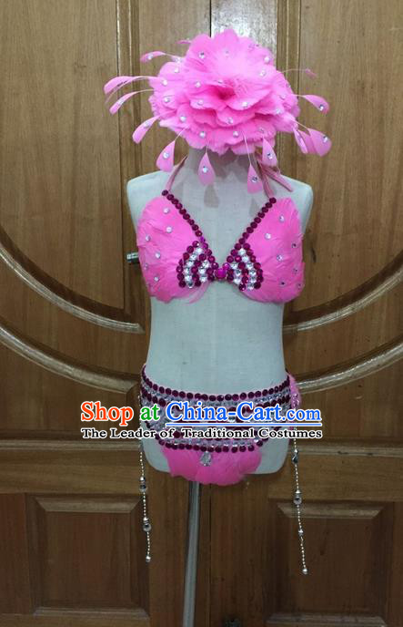 Top Grade Professional Performance Catwalks Bikini Clothing, Traditional Brazilian Rio Carnival Samba Modern Fancywork Pink Swimsuit Costume for Kids