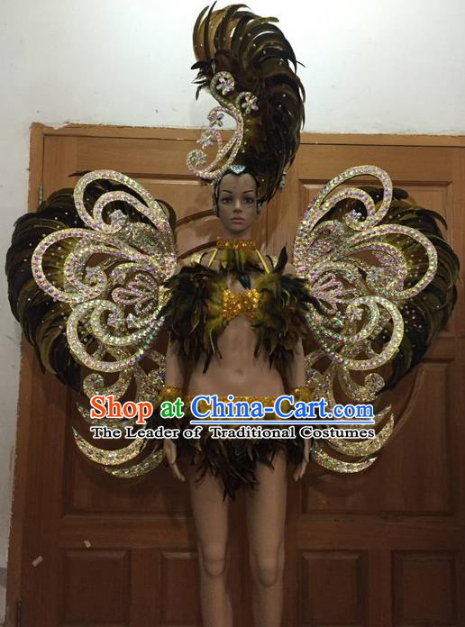 Top Grade Professional Performance Catwalks Bikini Clothing and Deluxe Wings Headpiece, Traditional Brazilian Rio Carnival Samba Modern Fancywork Swimsuit Costume for Women