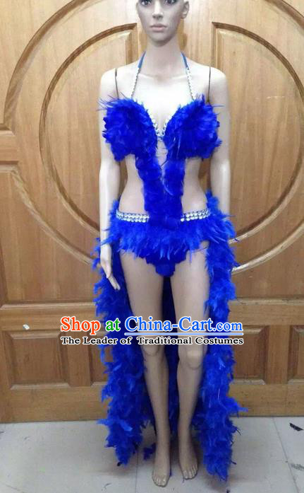 Top Grade Professional Performance Catwalks Blue Feather Bikini Costume, Traditional Brazilian Rio Carnival Samba Dance Modern Fancywork Swimsuit Costume for Women