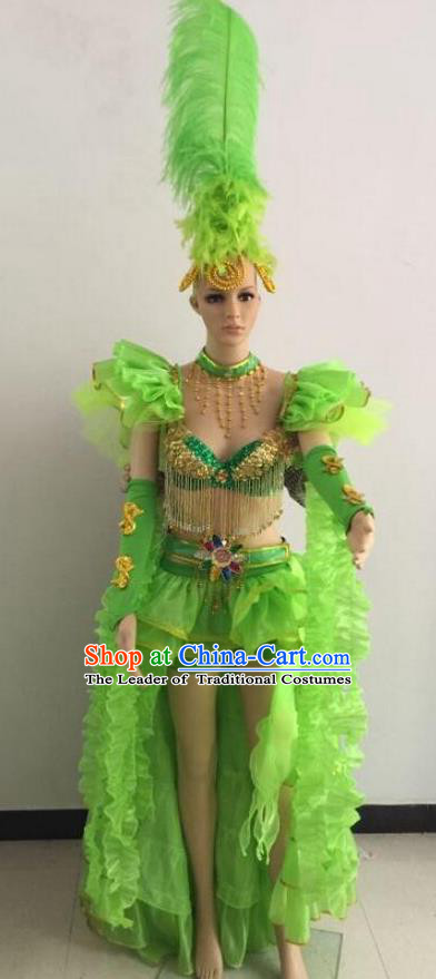 Top Grade Professional Performance Catwalks Green Bikini Costume and Feather Headwear, Traditional Brazilian Rio Carnival Samba Dance Modern Fancywork Clothing for Women