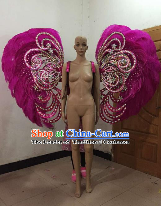 Top Grade Professional Stage Show Halloween Parade Backplane Brazilian Rio Carnival Parade Samba Dance Exaggerated Feather Props for Women