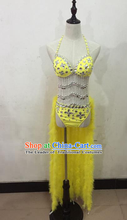 Top Grade Professional Performance Catwalks Costume Yellow Bikini, Traditional Brazilian Rio Carnival Samba Dance Modern Fancywork Clothing for Women