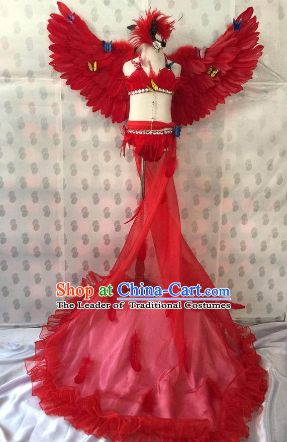 Top Grade Professional Performance Catwalks Costume Red Feather Bikini with Wings, Traditional Brazilian Rio Carnival Samba Dance Modern Fancywork Swimsuit Clothing for Kids