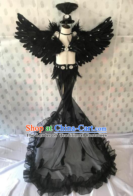 Top Grade Professional Performance Catwalks Costume Black Feather Bikini with Wings, Traditional Brazilian Rio Carnival Samba Dance Modern Fancywork Swimsuit Clothing for Kids