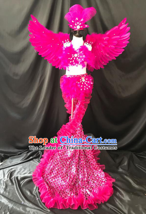 Top Grade Professional Performance Catwalks Costume Rosy Feather Bikini with Wings, Traditional Brazilian Rio Carnival Samba Dance Modern Fancywork Swimsuit Clothing for Kids
