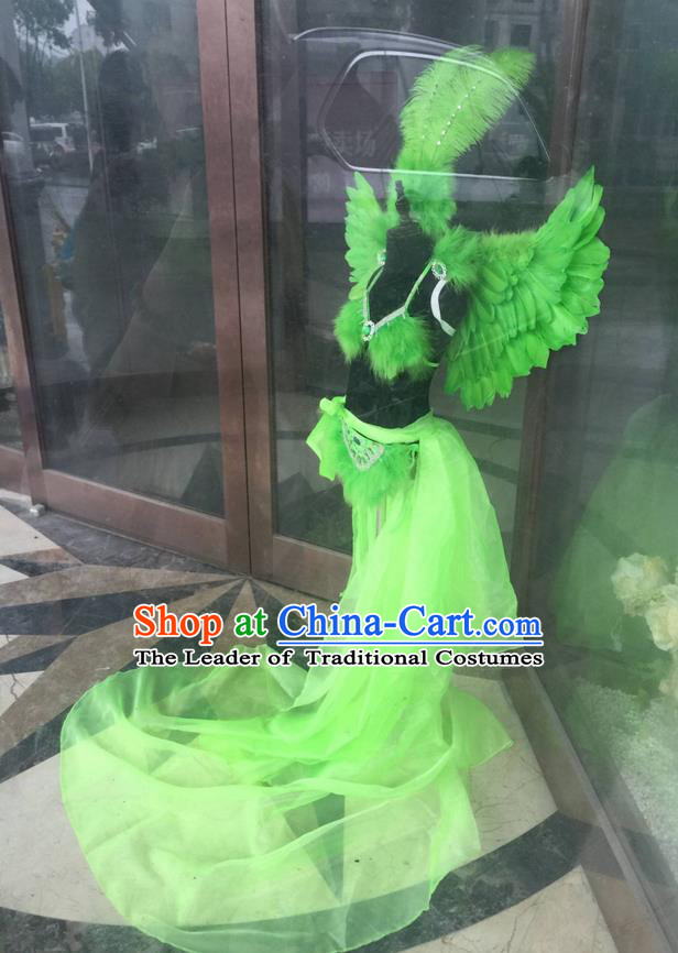 Top Grade Professional Performance Catwalks Costume Green Feather Bikini with Wings, Traditional Brazilian Rio Carnival Samba Dance Modern Fancywork Swimsuit Clothing for Kids