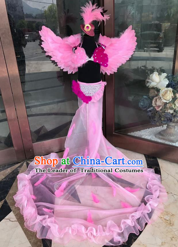 Top Grade Professional Performance Catwalks Costume Pink Feather Bikini with Wings, Traditional Brazilian Rio Carnival Samba Dance Modern Fancywork Swimsuit Clothing for Kids