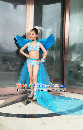 Top Grade Professional Performance Catwalks Costume Blue Feather Bikini with Wings, Traditional Brazilian Rio Carnival Samba Dance Modern Fancywork Swimsuit Clothing for Kids