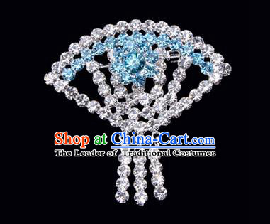 Chinese Ancient Peking Opera Jewelry Accessories Young Lady Diva Sector Brooch, Traditional Chinese Beijing Opera Hua Tan Blue Crystal Breastpin