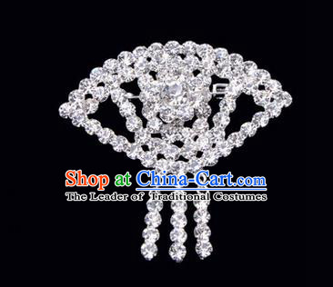 Chinese Ancient Peking Opera Jewelry Accessories Young Lady Diva Sector Brooch, Traditional Chinese Beijing Opera Hua Tan White Crystal Breastpin