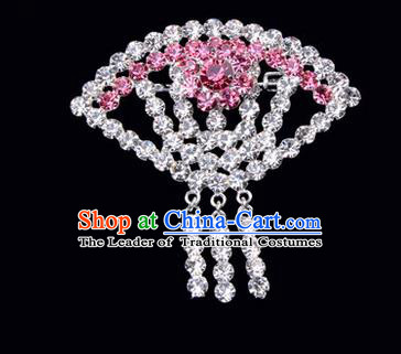 Chinese Ancient Peking Opera Jewelry Accessories Young Lady Diva Sector Brooch, Traditional Chinese Beijing Opera Hua Tan Pink Crystal Breastpin