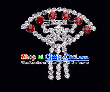 Chinese Ancient Peking Opera Jewelry Accessories Young Lady Diva Sector Brooch Collar Button, Traditional Chinese Beijing Opera Hua Tan Red Crystal Breastpin