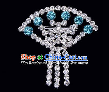 Chinese Ancient Peking Opera Jewelry Accessories Young Lady Diva Sector Brooch Collar Button, Traditional Chinese Beijing Opera Hua Tan Blue Crystal Breastpin