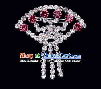 Chinese Ancient Peking Opera Jewelry Accessories Young Lady Diva Sector Brooch Collar Button, Traditional Chinese Beijing Opera Hua Tan Pink Crystal Breastpin