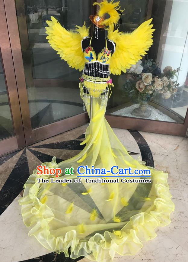 Top Grade Professional Performance Catwalks Costume Yellow Feather Bikini with Wings, Traditional Brazilian Rio Carnival Samba Dance Modern Fancywork Swimsuit Clothing for Kids