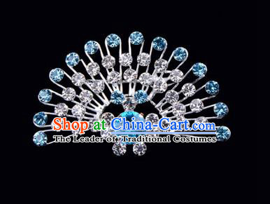 Chinese Ancient Peking Opera Jewelry Accessories Young Lady Diva Peacock Brooch Collar Button, Traditional Chinese Beijing Opera Hua Tan Blue Crystal Breastpin