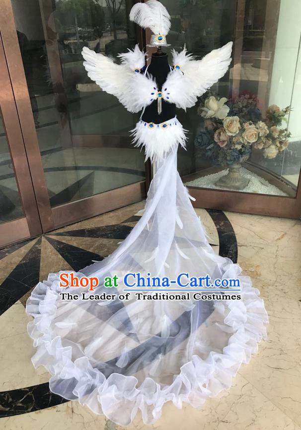 Top Grade Professional Performance Catwalks Costume White Feather Bikini with Wings, Traditional Brazilian Rio Carnival Samba Dance Modern Fancywork Swimsuit Clothing for Kids