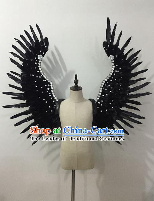 Top Grade Professional Stage Show Halloween Parade Black Feather Wings Accessories, Brazilian Rio Carnival Samba Dance Modern Fancywork Decorations Props for Kids