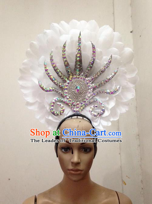 Top Grade Professional Stage Show Halloween Parade White Feather Hair Accessories, Brazilian Rio Carnival Samba Dance Modern Fancywork Decorations Headpiece for Women
