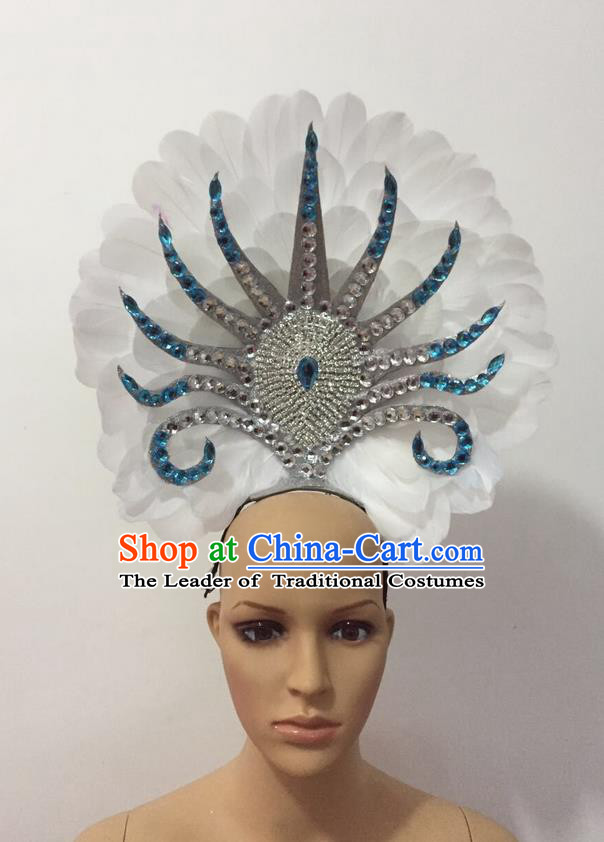 Top Grade Professional Stage Show Halloween Parade Feather Hair Accessories, Brazilian Rio Carnival Samba Dance Modern Fancywork Decorations Blue Headpiece for Women