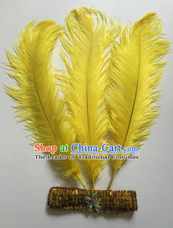Top Grade Professional Stage Show Halloween Parade Yellow Ostrich Feather Hair Accessories, Brazilian Rio Carnival Samba Dance Modern Fancywork Headwear for Women