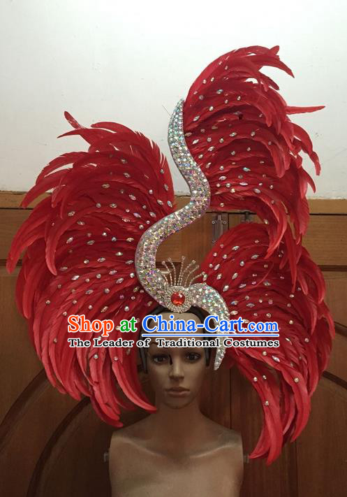 Top Grade Professional Stage Show Halloween Parade Red Ostrich Feather Big Hair Accessories, Brazilian Rio Carnival Samba Dance Modern Fancywork Headwear for Women