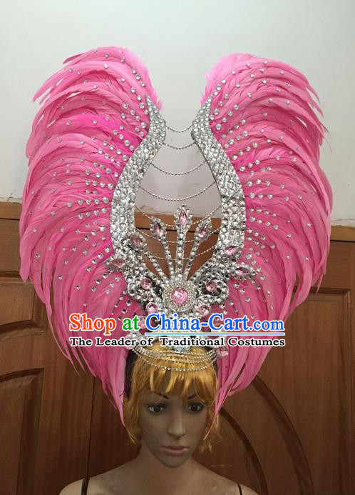 Top Grade Professional Stage Show Halloween Parade Big Hair Accessories, Brazilian Rio Carnival Samba Dance Modern Fancywork Golden Pink Feather Headdress Decorations for Women
