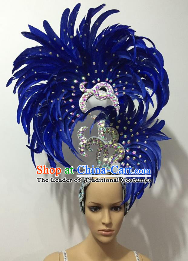 Top Grade Professional Stage Show Halloween Parade Big Hair Accessories, Brazilian Rio Carnival Samba Dance Modern Fancywork Blue Feather Giant Headpiece for Kids
