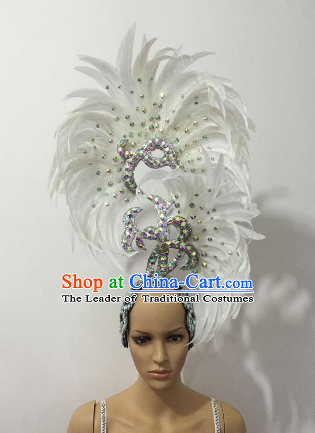 Top Grade Professional Stage Show Halloween Parade Big Hair Accessories, Brazilian Rio Carnival Samba Dance Modern Fancywork White Feather Giant Headpiece for Kids