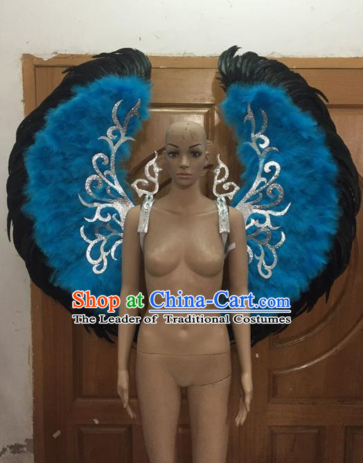Top Grade Halloween Parade Decorations Backplane Brazilian Rio Carnival Samba Dance Blue Feathers Deluxe Wings for Women