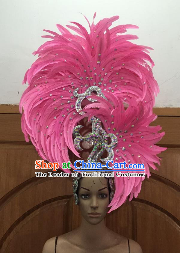 Top Grade Professional Stage Show Halloween Parade Big Hair Accessories, Brazilian Rio Carnival Samba Dance Modern Fancywork Pink Feather Giant Headpiece for Kids