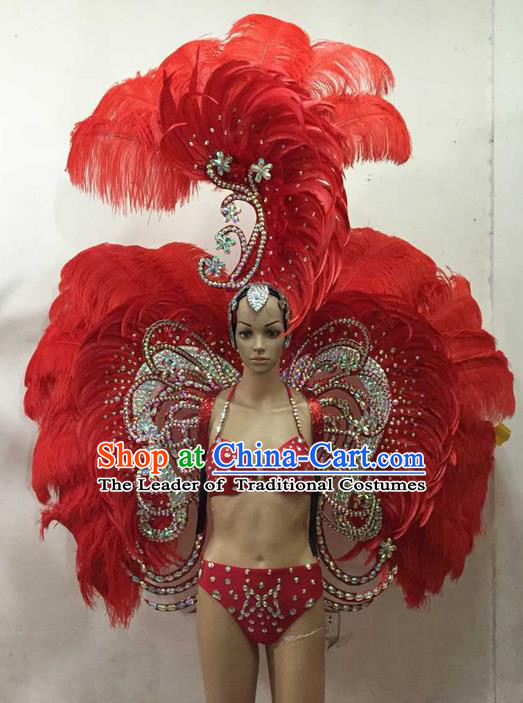 Top Grade Professional Performance Catwalks Costume Red Feather Bikini and Wings, Traditional Brazilian Rio Carnival Samba Dance Modern Fancywork Swimsuit Clothing for Women