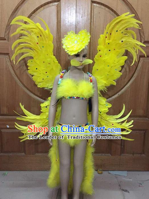 Top Grade Professional Performance Catwalks Costume Yellow Feather Bikini and Wings, Traditional Brazilian Rio Carnival Samba Dance Modern Fancywork Swimsuit Clothing for Women