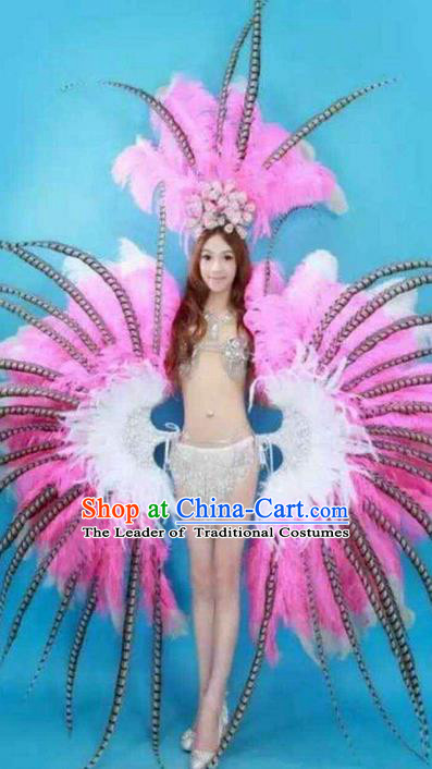 Top Grade Professional Performance Catwalks Costume Pink Feather Bikini and Headpiece Wings, Traditional Brazilian Rio Carnival Samba Dance Modern Fancywork Swimsuit Clothing for Women