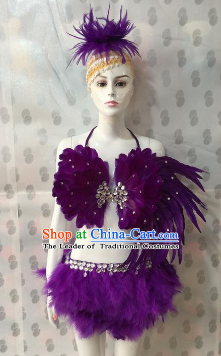Top Grade Professional Performance Catwalks Costume Bikini and Headpiece, Traditional Brazilian Rio Carnival Samba Dance Modern Fancywork Purple Swimsuit for Women