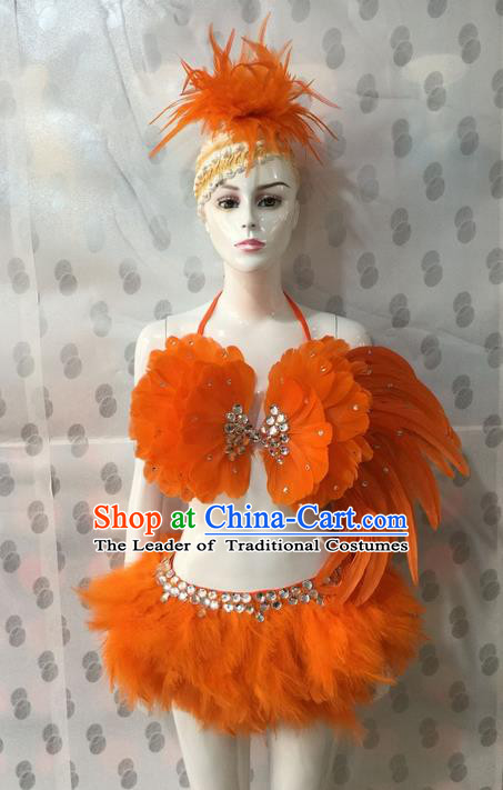 Top Grade Professional Performance Catwalks Costume Bikini and Headpiece, Traditional Brazilian Rio Carnival Samba Dance Modern Fancywork Orange Swimsuit for Women