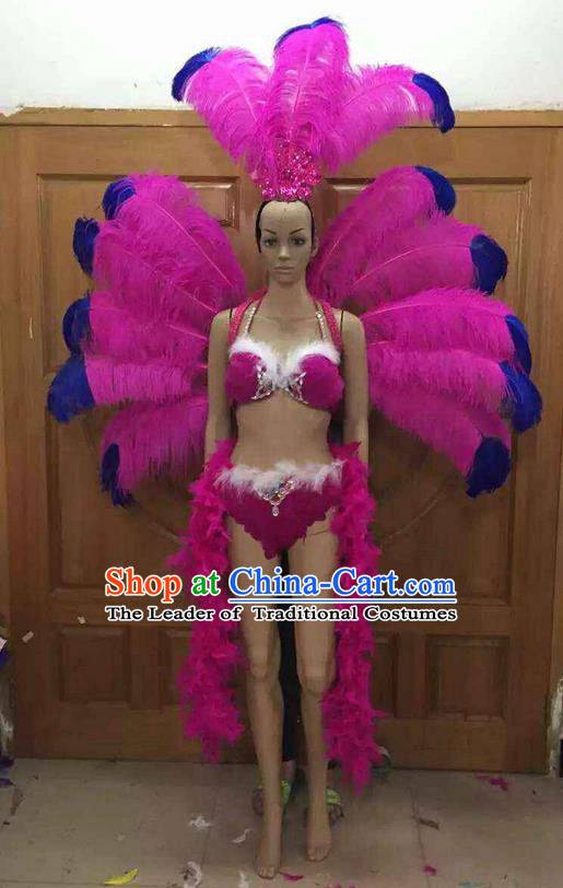 Top Grade Professional Performance Catwalks Costume Rosy Feather Bikini with Wings, Traditional Brazilian Rio Carnival Samba Dance Clothing and Headpiece for Women
