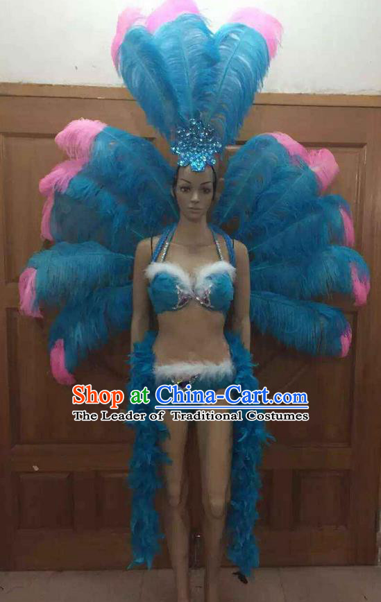 Top Grade Professional Performance Catwalks Costume Blue Feather Bikini with Wings, Traditional Brazilian Rio Carnival Samba Dance Clothing and Headpiece for Women