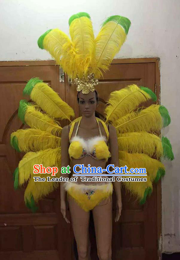 Top Grade Professional Performance Catwalks Costume Yellow Feather Bikini with Wings, Traditional Brazilian Rio Carnival Samba Dance Clothing and Headpiece for Women