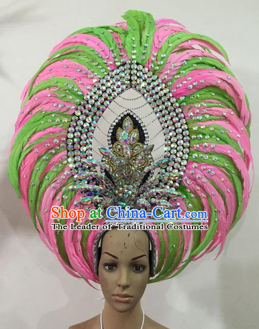 Top Grade Brazilian Rio Carnival Samba Dance Hair Accessories Headwear, Halloween Parade Feather Headpiece for Women