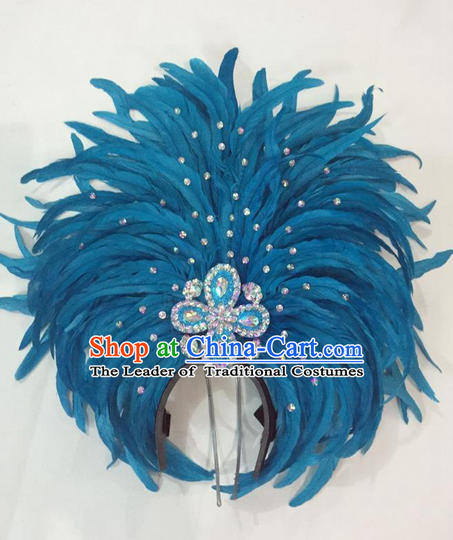 Top Grade Brazilian Rio Carnival Samba Dance Hair Accessories Giant Headpiece Headwear, Halloween Parade Big Blue Feather Headdress for Women