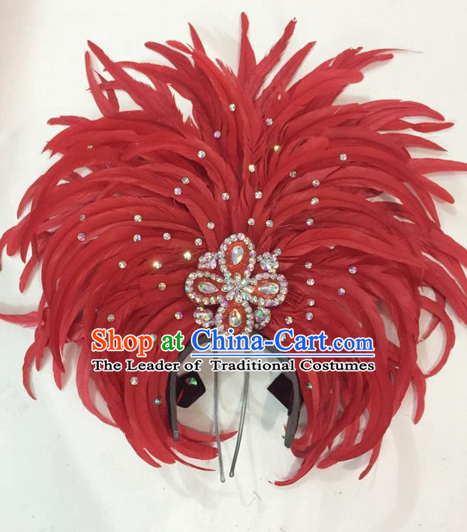 Top Grade Brazilian Rio Carnival Samba Dance Hair Accessories Giant Headpiece Headwear, Halloween Parade Big Red Feather Headdress for Women