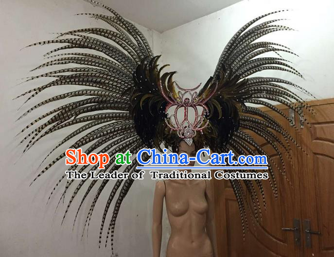 Top Grade Brazilian Rio Carnival Samba Dance Long Feather Hair Accessories Giant Headpiece Decorations, Halloween Parade Big Headwear for Women