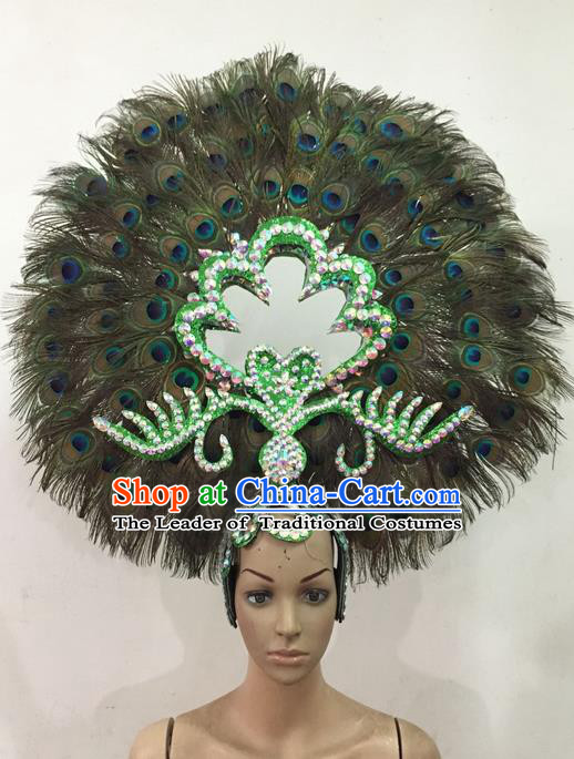 Top Grade Brazilian Rio Carnival Samba Dance Feather Hair Accessories Giant Headpiece Decorations, Halloween Parade Peacock Headwear for Women