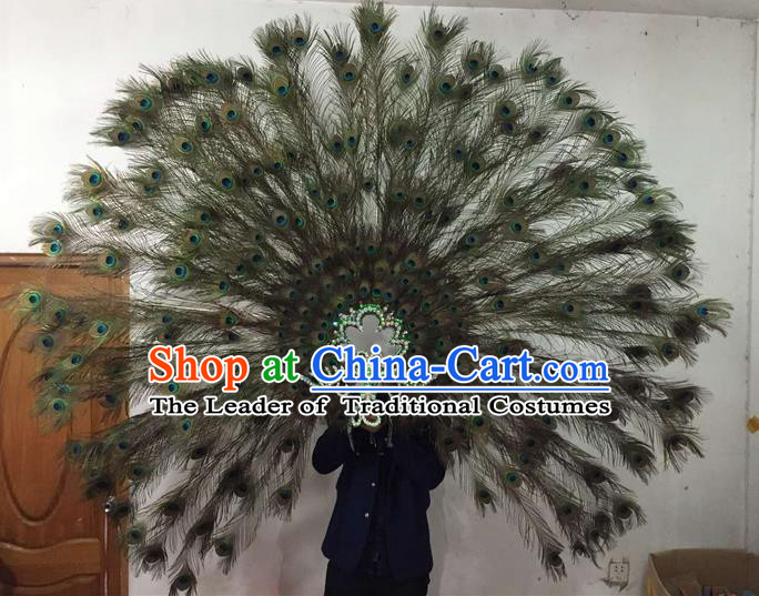 Top Grade Brazilian Rio Carnival Samba Dance Feather Hair Accessories Big Headpiece Decorations, Halloween Parade Giant Peacock Headwear for Women