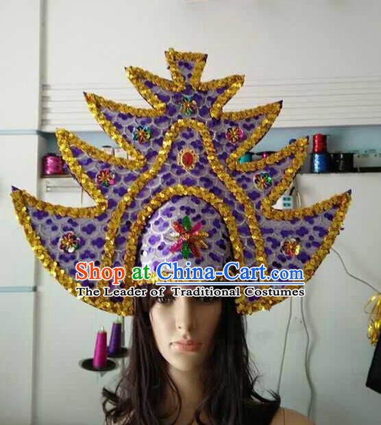 Top Grade Brazilian Rio Carnival Samba Dance Purple Hair Accessories Headpiece, Halloween Parade Headwear for Women