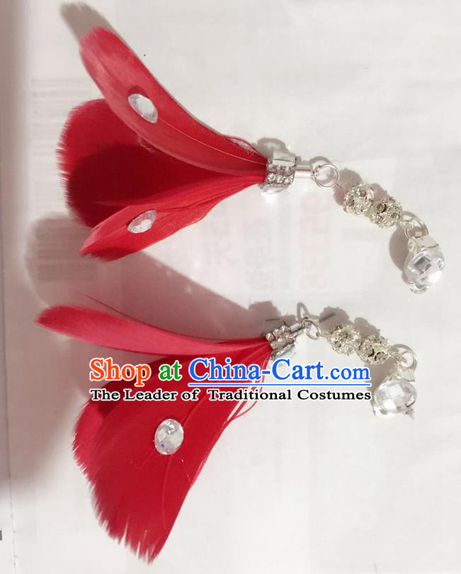 Top Grade Brazilian Rio Carnival Samba Dance Accessories Earrings, Halloween Parade Red Feather Eardrop for Women